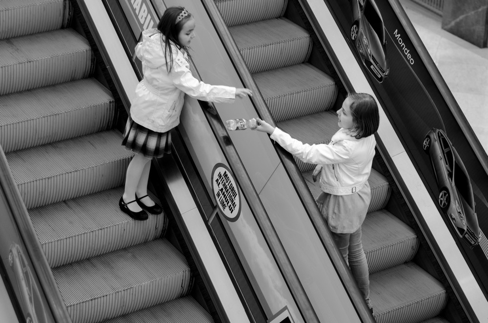 sharing is caring girls rolling stairs