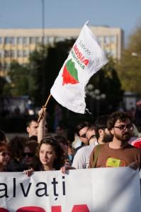 protest rosia montana iasi piata unirii 2013 steag
