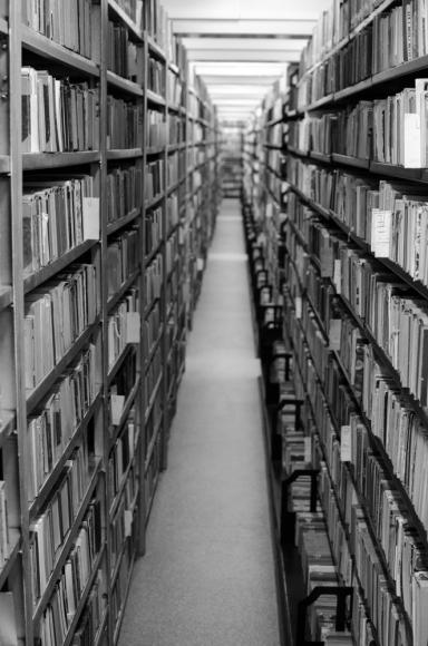 hallway between books