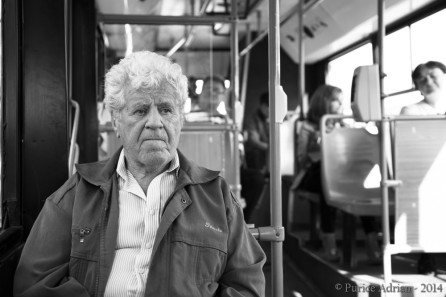 old guy riding the bus