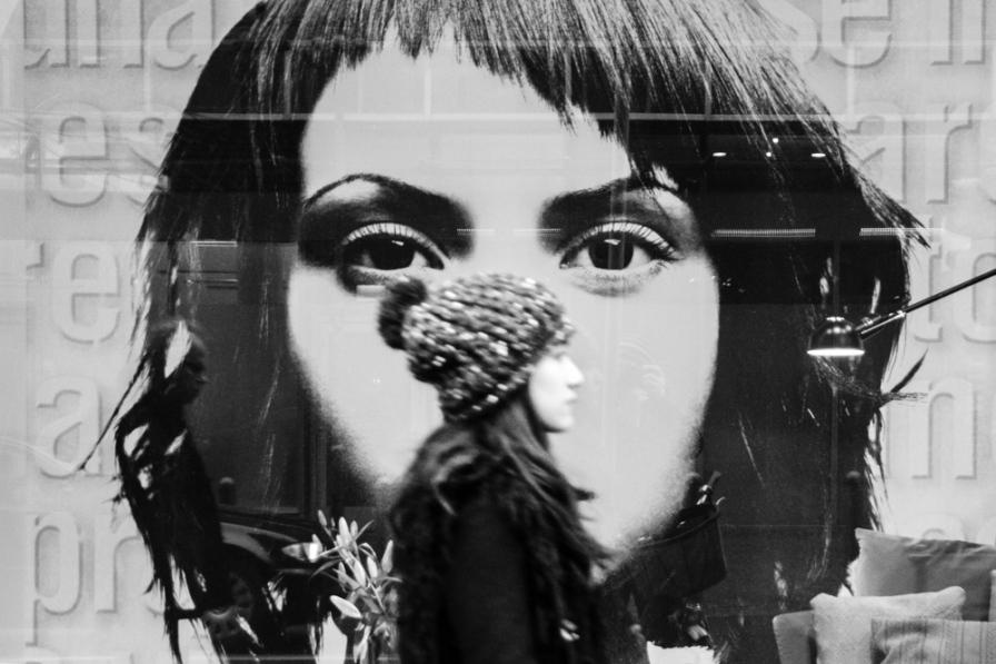 poster, eyes focued, girl