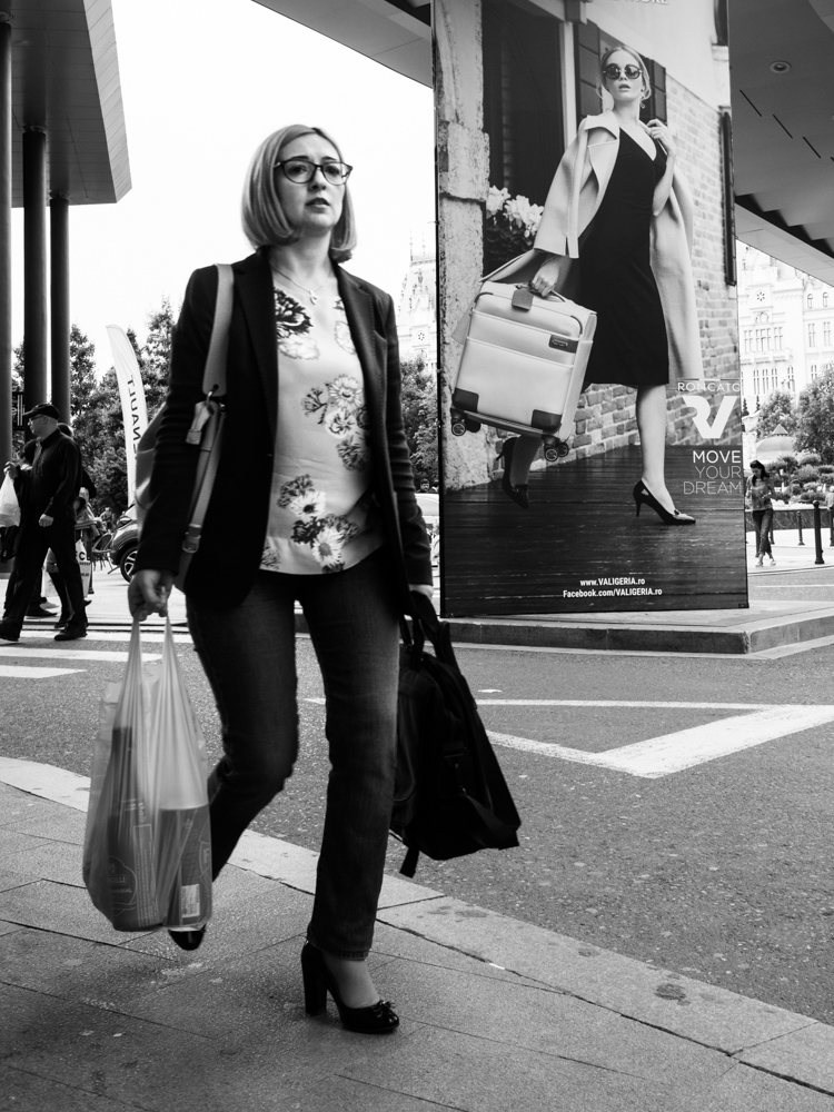 lady carrying grocery bags vs poster